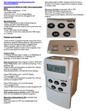 brinks outdoor timer instructions